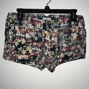 American Eagle plaid shorts with floral design